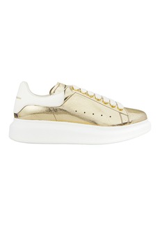 Alexander McQueen Crackled Metallic Leather Platform Sneakers
