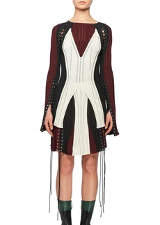 Alexander McQueen Crewneck Long-Sleeve Lacing Knit Dress