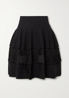 Alexander McQueen Crochet-paneled Ribbed Stretch-knit Mini Skirt