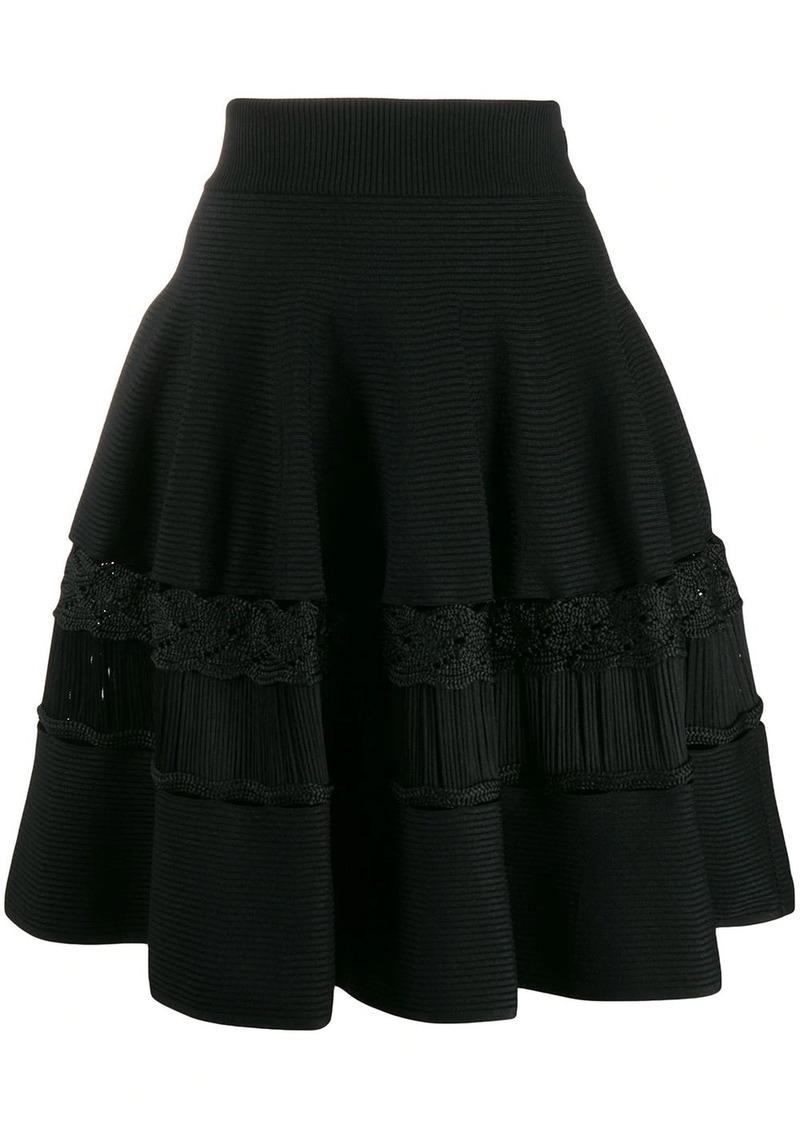 Alexander McQueen crochet panels a-line skirt