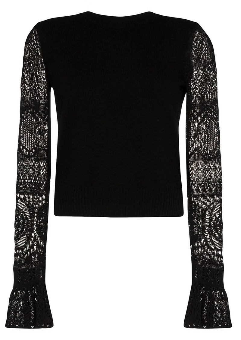 Alexander McQueen crochet sleeve knit top