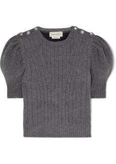 Alexander McQueen Cropped Crystal-embellished Wool-blend Sweater