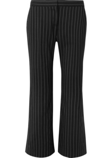 Alexander McQueen Cropped Pinstriped Wool-blend Flared Pants