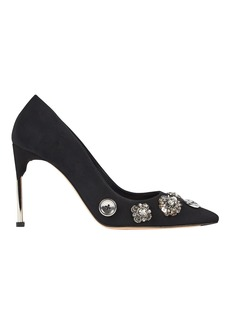Alexander McQueen Crystal & Button Suede Pumps