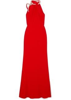 Alexander McQueen Crystal-embellished Crepe Halterneck Gown