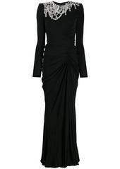 Alexander McQueen crystal-embellished draped dress