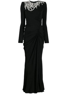 Alexander McQueen crystal-embellished draped dress