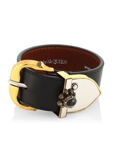 Alexander McQueen Crystal-Embellished Leather Bracelet