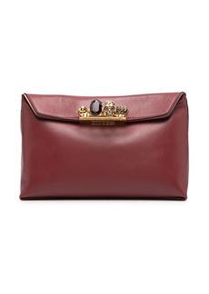 Alexander McQueen crystal-embellished ring-detail clutch bag