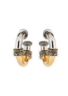 Alexander McQueen Crystal-Embellished Small Hoop Earrings