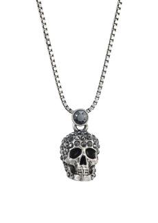 Alexander McQueen Crystal Skull Silvertone Pendant Necklace