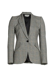 Alexander McQueen Distressed Prince Of Wales Check Jacket