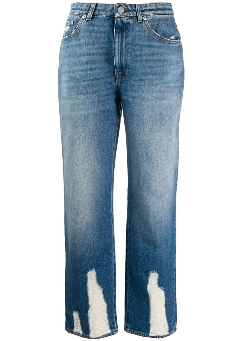 Alexander McQueen distressed straight-leg jeans