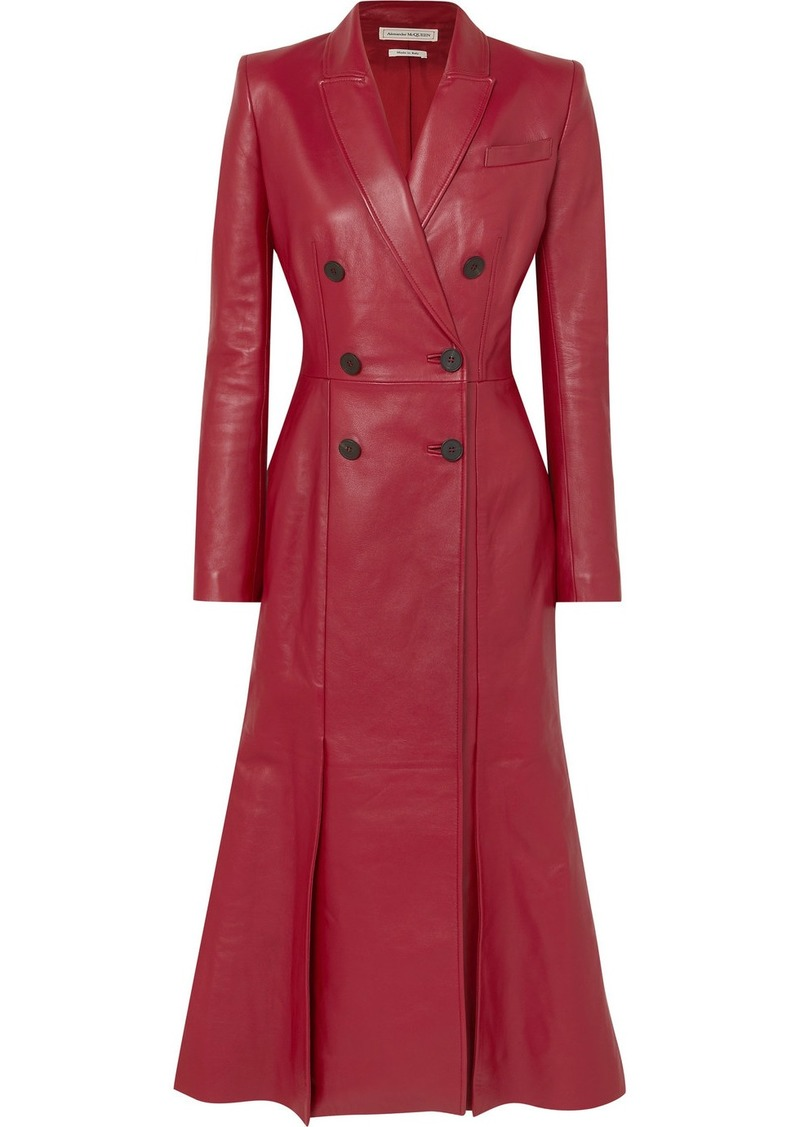 Alexander McQueen Double-breasted Pleated Leather Coat
