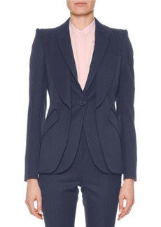 Alexander McQueen Double-Collar Single-Breasted Grain de Poudre Classic Jacket
