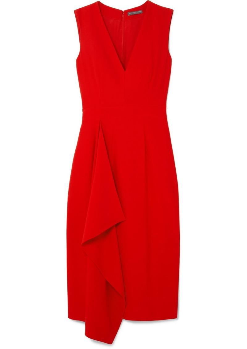 Alexander McQueen Draped Crepe Midi Dress