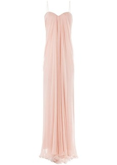 Alexander McQueen Draped Floor Length Silk Dress