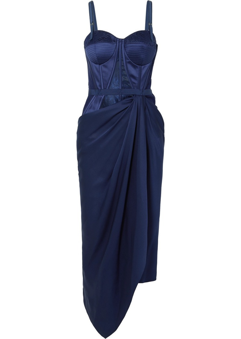 Alexander McQueen Draped Lace And Jacquard-trimmed Silk-satin Bustier Dress
