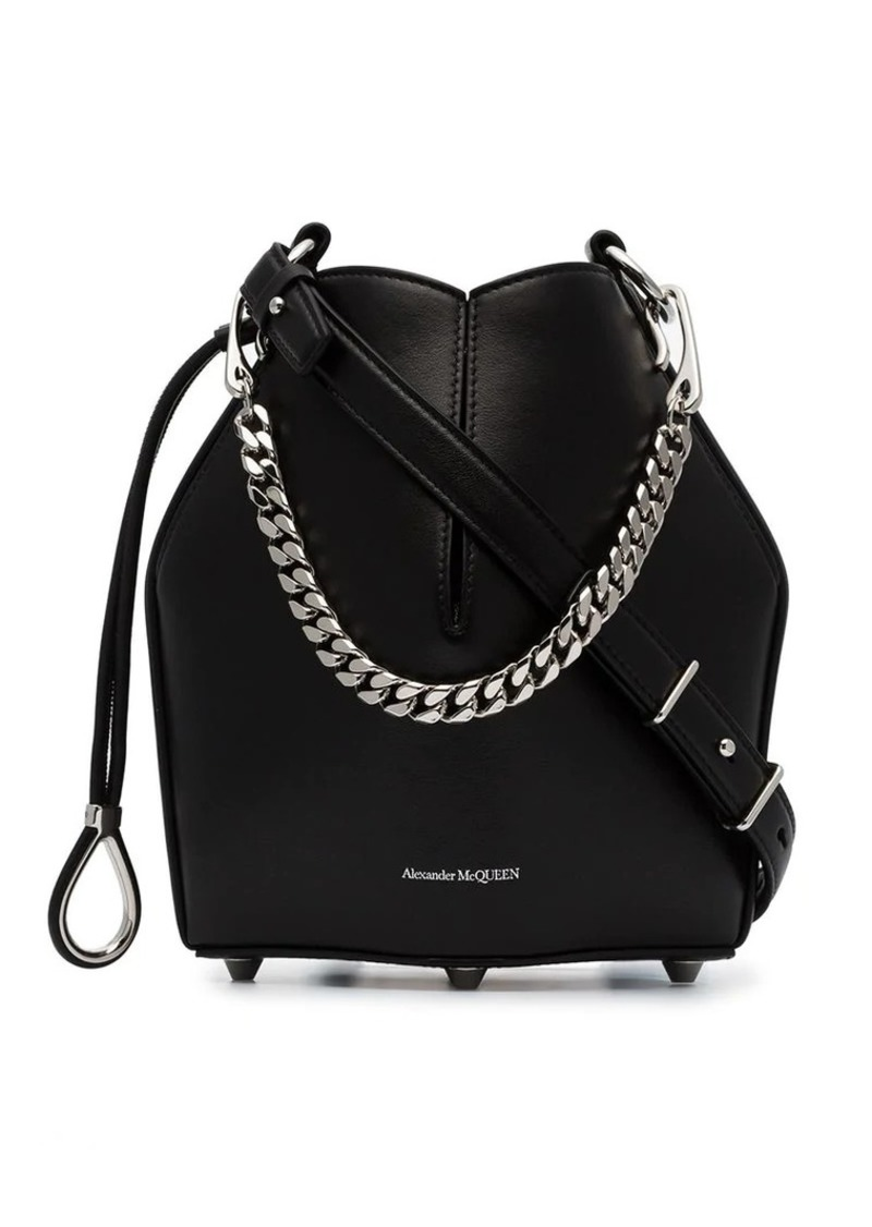Alexander McQueen black drawstring fastened structured bucket bag