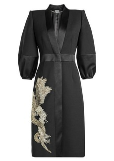 Alexander McQueen Embellished Coat with Wool and Silk