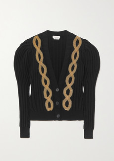 Alexander McQueen Embellished Ribbed Wool-blend Cardigan