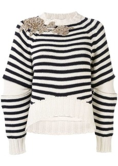 Alexander McQueen embellished striped knit sweater