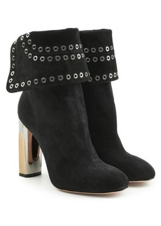 Alexander McQueen Embellished Suede Booties with Metallic Heels