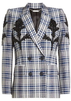 Alexander McQueen Embellished Virgin Wool Plaid Blazer