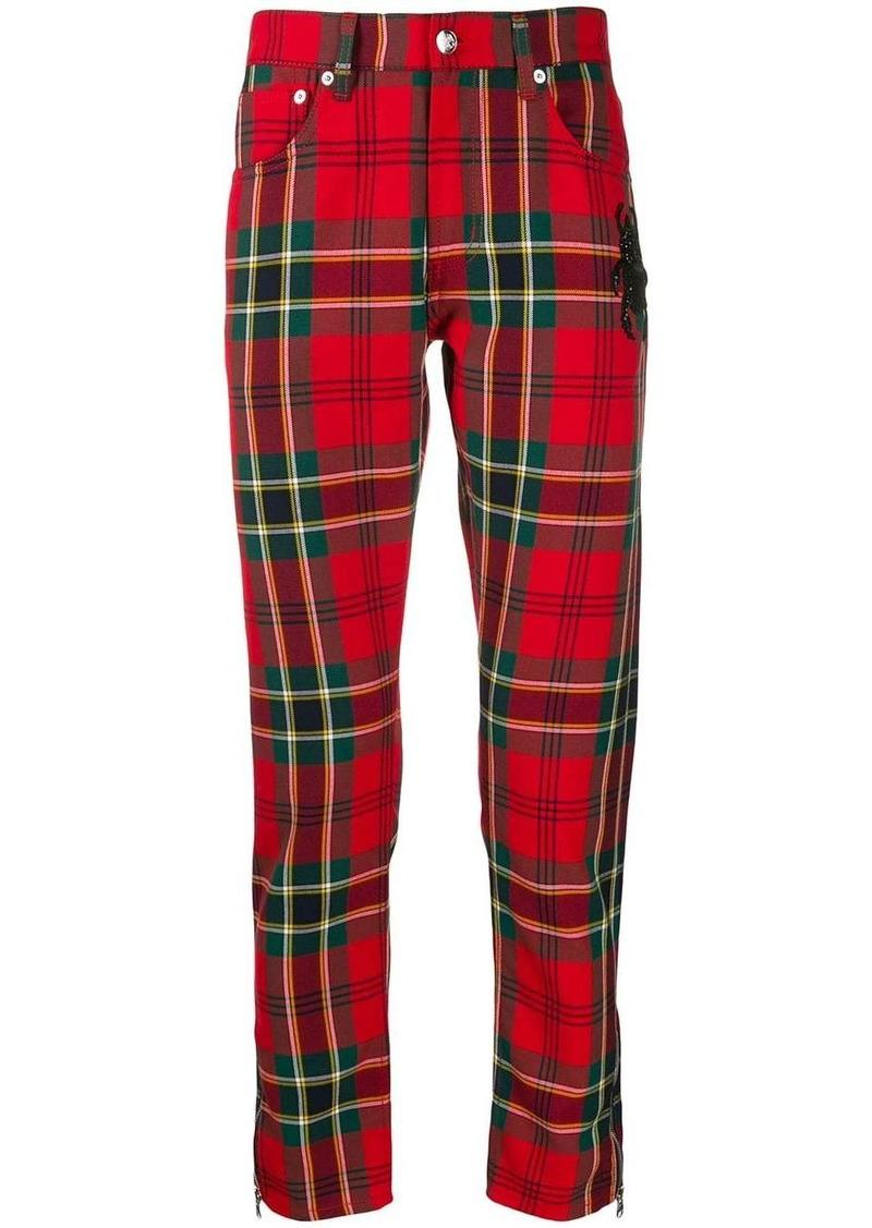 Alexander McQueen embroidered bug tartan trousers
