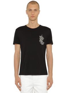 Alexander McQueen Embroidered Cotton Jersey T-shirt