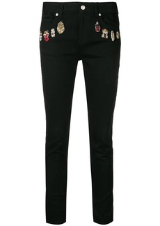 Alexander McQueen embroidered details skinny jeans