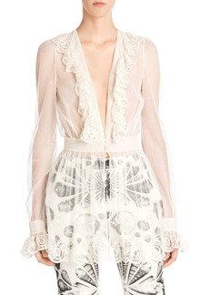 Alexander McQueen Embroidered Tulle Peplum Top