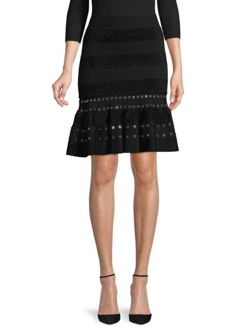 Alexander McQueen Eyelet-Detail Fluted Skirt