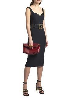 Alexander McQueen Fitted-Waist Sleeveless Midi Dress