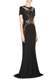 Alexander McQueen Floral Embellished Evening Gown