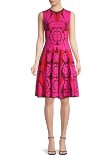 Alexander McQueen Floral Intarsia-Knit Flare Dress