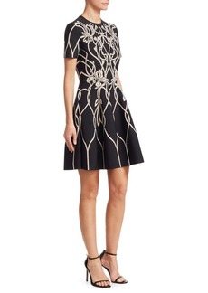 Alexander McQueen Floral Knit A-Line Dress