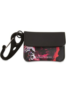 Alexander McQueen Floral Leather Coin Wallet W/ Carabiner