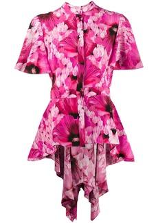 Alexander McQueen floral print asymmetric shirt
