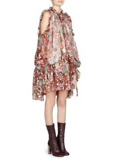 Alexander McQueen Floral-Print Cold-Shoulder Crepe Shift Dress