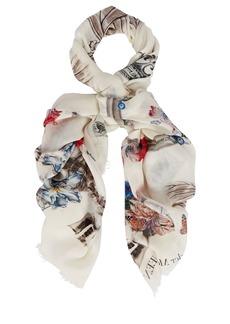 Alexander McQueen Floral Skull Wool-Silk Shawl