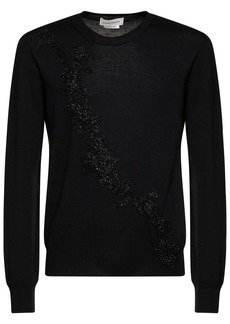 Alexander McQueen Flower Embroidery Wool Knit Sweater