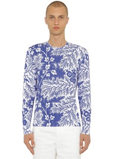 Alexander McQueen Flower Print Cotton Knit Sweater