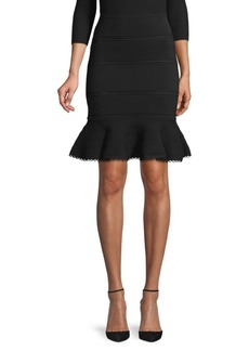 Alexander McQueen Fluted Pointelle-Knit Skirt