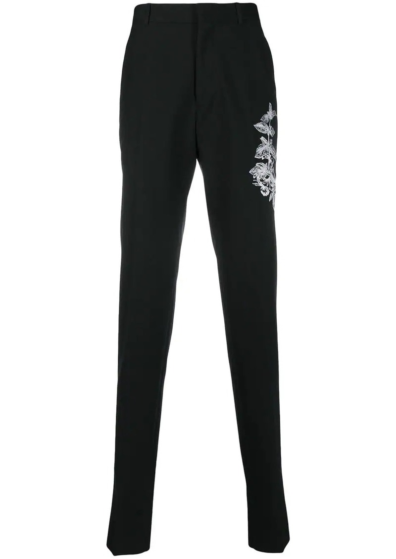 Alexander McQueen foliage embroidered tailored trousers