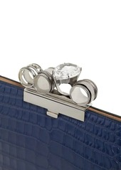 Alexander McQueen Four Ring Croc Embossed Leather Clutch