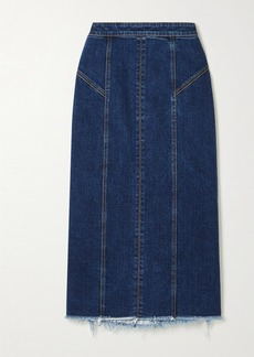 Alexander McQueen Frayed Denim Midi Skirt