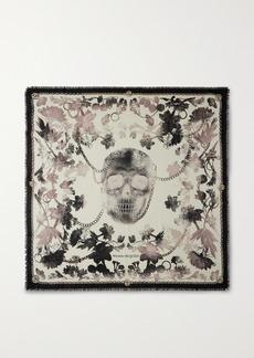 Alexander McQueen Frayed Printed Wool-twill Scarf