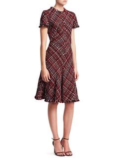 Alexander McQueen Frayed Tweed Flounce Dress
