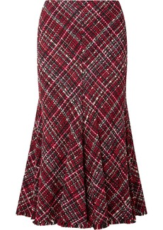 Alexander McQueen Frayed Tweed Midi Skirt